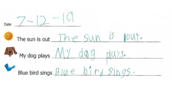 Kinuu's example of handwriting practice